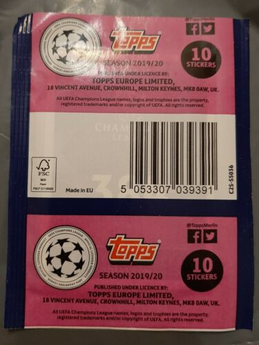 1X PACKET TOPPS CHAMPIONS LEAGUE 2019 2020 POCHETTE BUSTINA TÜTE NEW VERSION 2