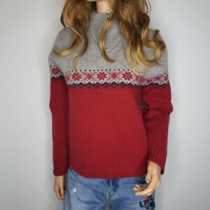 Woolrich-100-Lambs-Wool-Nordic-Fair-Isle-Sweater-Womens-Size-M-Petite-Red-Gray