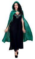 LADIES GREEN WITCHES CAPE HOODED FANCY DRESS VAMPIRE HALLOWEEN WOMENS CLOAK NEW