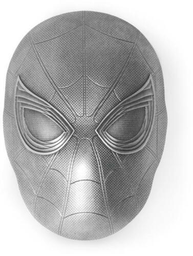 MARVEL ICON SERIES 2019 2 OZ Antiqued Pure Silver Coin Fiji SPIDER-MAN MASK