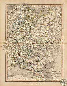 Map Of Europe 1840.1840 Map Russia In Europe Published T Cadell Ebay