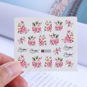 2-Blatt-Nagel-Kunst-Wasser-Aufkleber-Rose-Blumen-Design-Transfer-Stickers