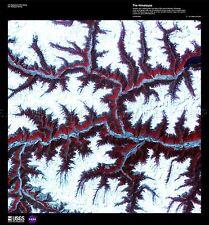 SCIENCE MAP SATELLITE HIMALAYAS CHINA MOUNTAIN SNOW REPLICA POSTER PRINT PAM1544