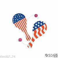 (12) 4th Of July Summer Patriotic Party Favors Wooden Paddleball Game Games