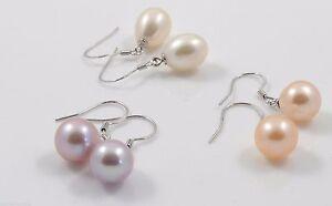 Fine AAA Freshwater Drop Pearl & Sterling Silver Earrings White/Pink/Purple