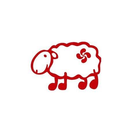 Autocollant mouton basque lauburu croix couleur sticker noir 4 cm