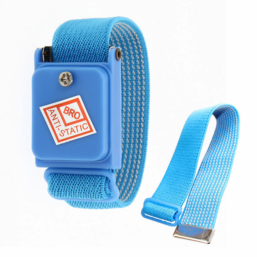 Anti Static Cordless Bracelet ESD Discharge Cable Wrist Strap Cool BlueODHI