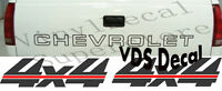 Chevrolet Chevy Gm Tailgate & 4x4 Slanted Decal Kit 88-2000 Black/red + Other