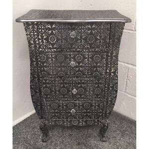 Blackened Silver Metal Embossed 4 Drawer Bedside Cabinet