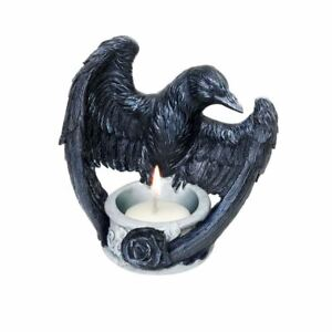 Alchemy-Gothic-Raven-039-s-Ward-Black-Rose-Tea-Light-Candle-Holder-Giftware-11cm