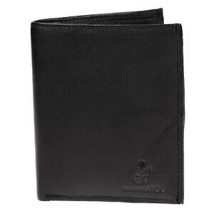 Monopol-echt-Leder-Geldboerse-Hochformat-Brieftasche-Portemonaie-Schwarz-Tasche