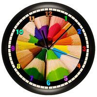 Colored Pencils Wall Clock Personalized Gift Decor Art Teacher Artist Paint