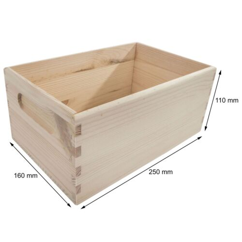 Open Top 5 Sizes Pine Crate Chest Wooden Storage Box For Craft Decoupage