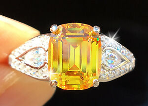 3-ct-Canary-Emerald-Cut-Ring-Brilliant-Top-Quality-CZ-Moissanite-Simulant-sz-10