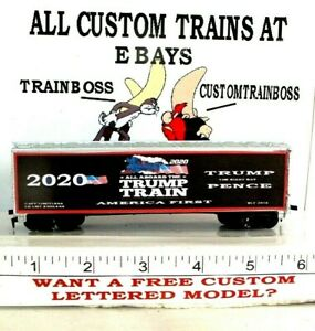 HO-CUSTOM-LETTERED-TRUMP-TRAIN-AMERICA-FIRST-2020-COLLECTIBLE-REEFER-LOT-D