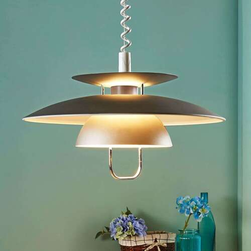 LED-Pendellampe Nadija Metall Grau Skandinavischer Stil Zugpendel Hängeleuchte