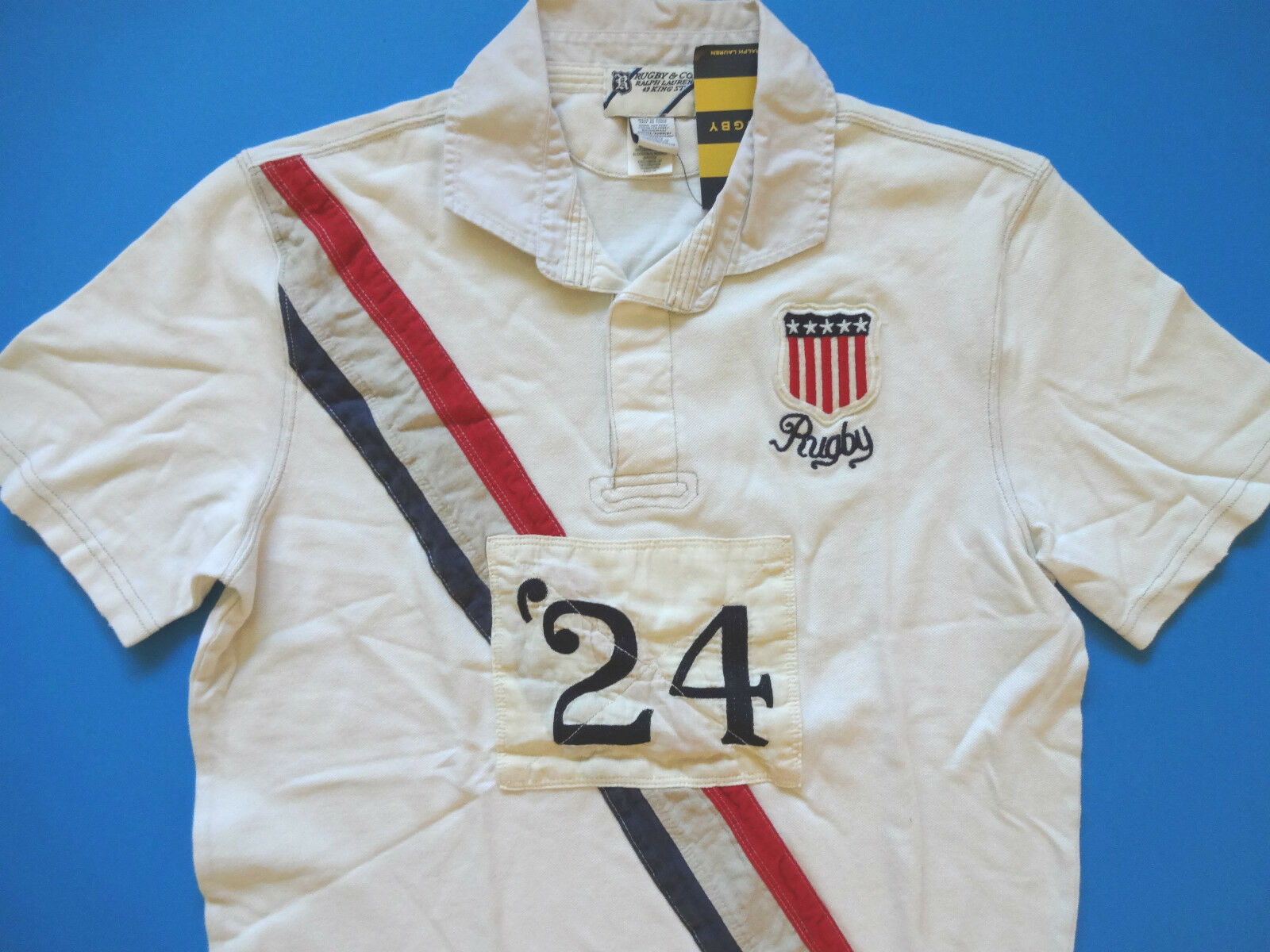 New Ralph Lauren Rugby Off White Usa Patch 100 Cotton Polo Shirt Size Slim Xs