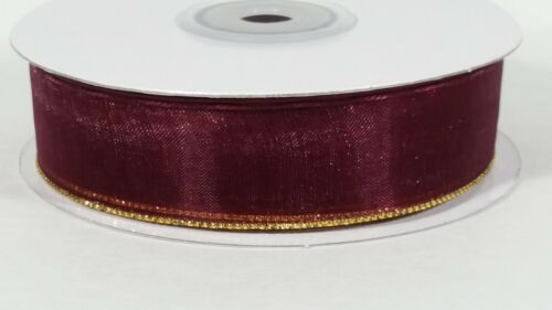 "7//8/"" Gold Trim Organza Pull Bow Ribbon Bows 25 Yards"