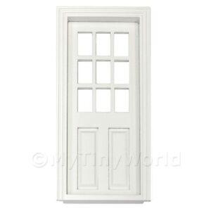 Miniatura-para-Casa-de-Munecas-Blanco-Pintado-9-Panel-Vidriado-Madera-Puerta