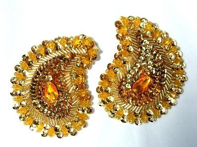 0361~ GOLD PAISLEY  PAIR BEADED SEQUIN APPLIQUES 3.25