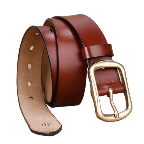 "Hot Retro Cool brass buckle Mens Belt Genuine Leather Casual Belt Waist 30/""-42/"""