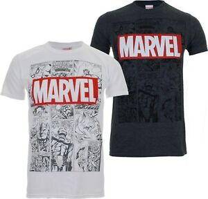 Official-Marvel-Mens-Mono-Comic-T-Shirt-Tee-Thor-Spider-Man-Iron-Man-Hulk