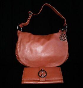 a2388d83c68b Coach Metallic TANGERINE Leather ALI Flap Hobo Tote Bag Purse Long ...