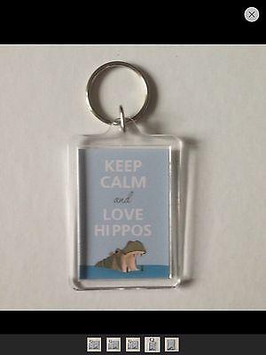 Keep Calm and Love Hippos Keyring