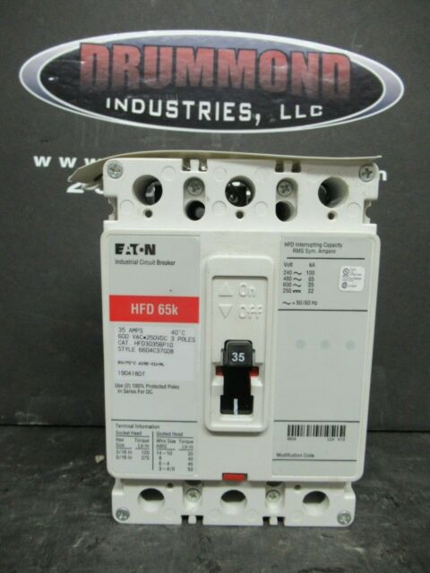 EATON CUTLER HAMMER Type HFD Circuit Breaker 35 Amp 3 Pole HFD3035