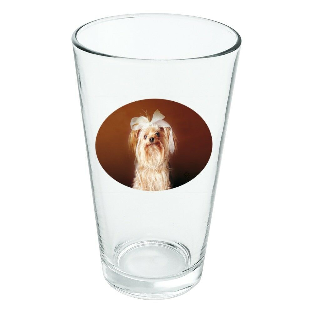 Yorkie Yorkshire Terrier Dog Bow Hair Novelty 16oz Pint Drinking Glass Tempered