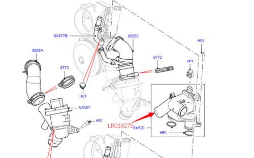 Sport LR4 LR018275 New Thermostat Tube Fits 2010-2013 Land Rover Range Rover