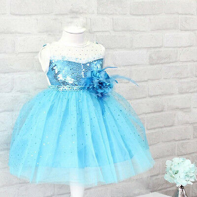 Baby Girls Kids Princess Snow Queen Costume Cosplay Flower Tulle Gown Dress 1-7Y