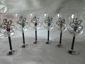 Détails sur 6 Verres A Pied A Vin Originaux Design Décoré verres peints à la main Neuf