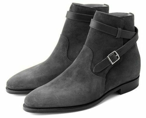 Hombre Hombre Hombre Gris Handmade Suede Leather Buckle Zapatos Jodhpurs High Ankle Leather botas 52188e