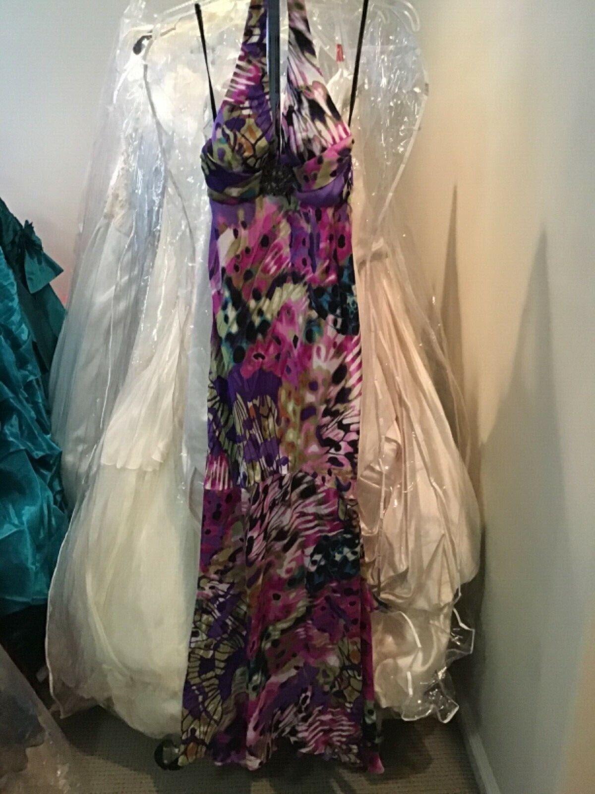 JUMP Halter prom formal Long cocktail satin pink/purple dress Junior 9/10. 8 NEW