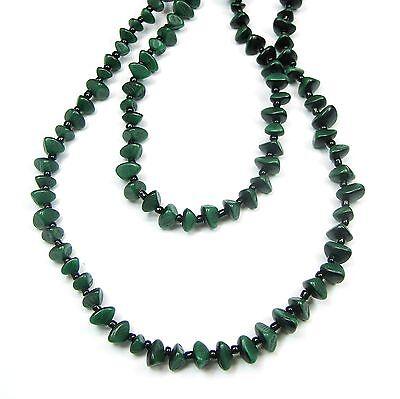 Neu 100cm Halskette Perlen Smaragd-grün Holz Endloskette Perlenkette Naturperlen