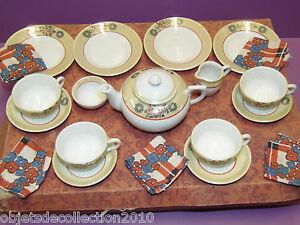 Jolie Dinette Service A The En Porcelaine Décors Irises Dans Sa Boite 1950