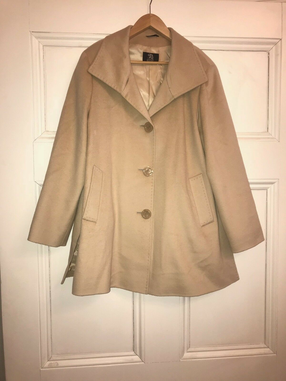 Erre fine angora wool nude coat in size 16
