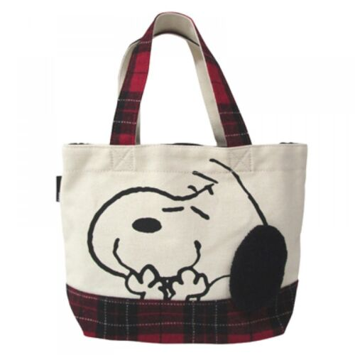 Kawaii f//s from Japan Snoopy Vintage canvas mini tote bag Check Peanuts New