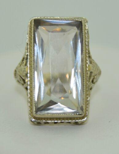 Art Deco Spinel 18K White Gold Filigree Ring