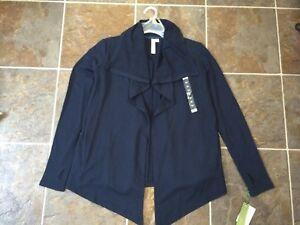 NWT GREEN TEA Blue Open Front Cardigan Shrug Sweater Sz S, M, L, XL, XXL