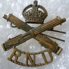 Badge- Royal Naval Division Machine Gun Corps Cap Badge  RND Badge (BRASS, Org*)