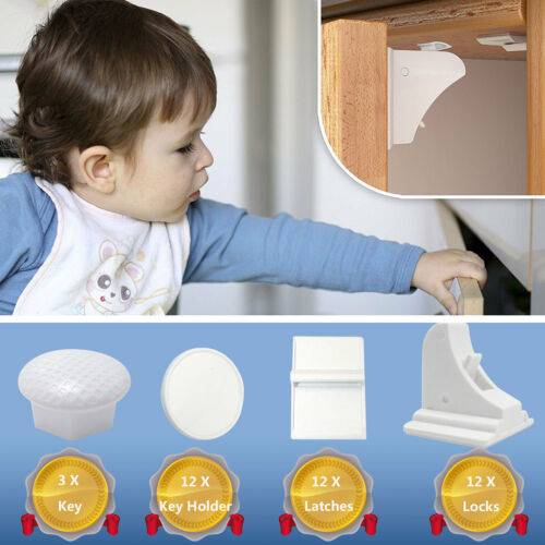 12 Locks + 3 Keys Value Pack Magnetic Child Safety CupboardCabinetDrawer Locks
