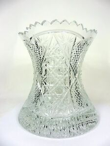 Cut-Crystal-Vase-Artist-Signed-Buttons-and-Stars