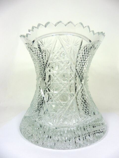 Cut Crystal Vase Artist Signed Buttons and Stars