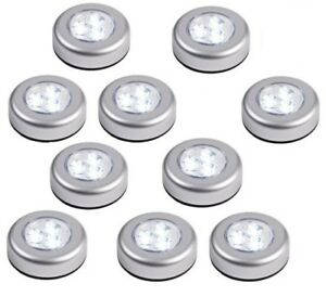 Details About 4 Round Led Battery Operated Stick On Under Cabinet Cupboard Push Lights