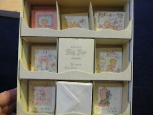 40-Gibson-Vtg-Baby-Gift-Card-Lot-All-Unused-with-tiny-envelopes-in-Box-MG