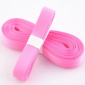 Pink-Color-5yds-3-8-10-mm-Solid-Christmas-Grosgrain-Ribbon-Hair-Bows-Ribbion