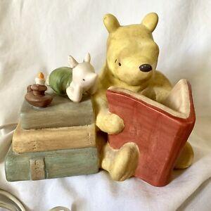 Vintage Winnie the Pooh Ceramic Lamp Nursery Night Light Pooh Reading to Piglet