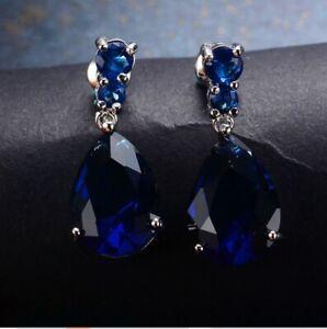 4CT Pear Cut Blue Sapphire Solitaire Drop//Dangle Earrings 14k White Gold Finish